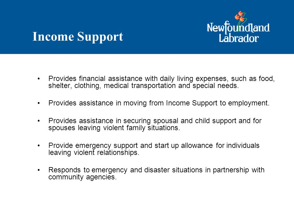 Income Support Provides financial assistance with daily living expenses, such as food, shelter, clothing, medical transportation and special needs.
