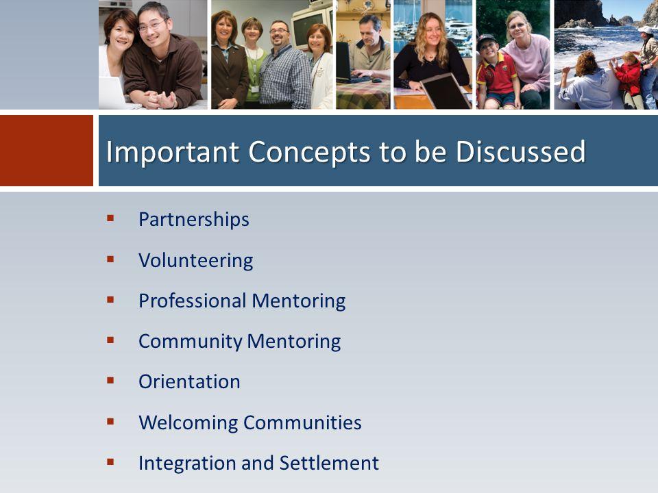  Partnerships  Volunteering  Professional Mentoring  Community Mentoring  Orientation  Welcoming Communities  Integration and Settlement Import