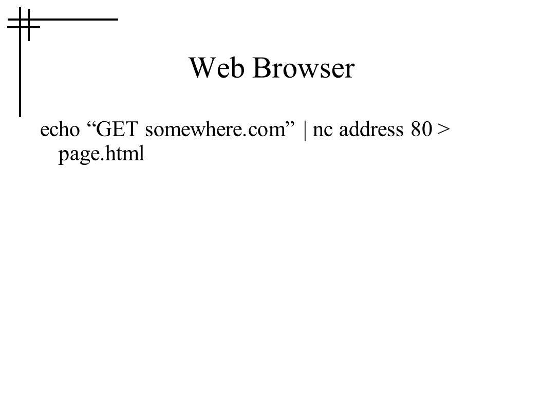 Web Browser echo GET somewhere.com | nc address 80 > page.html