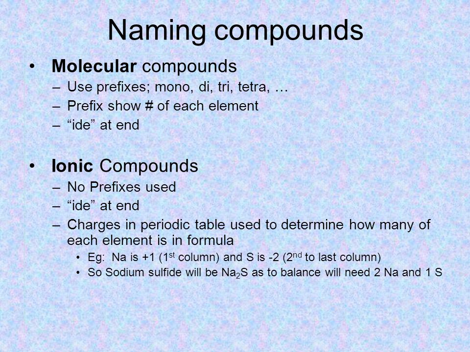 Chemical formulas Molecular compounds –Share electrons – e.g.