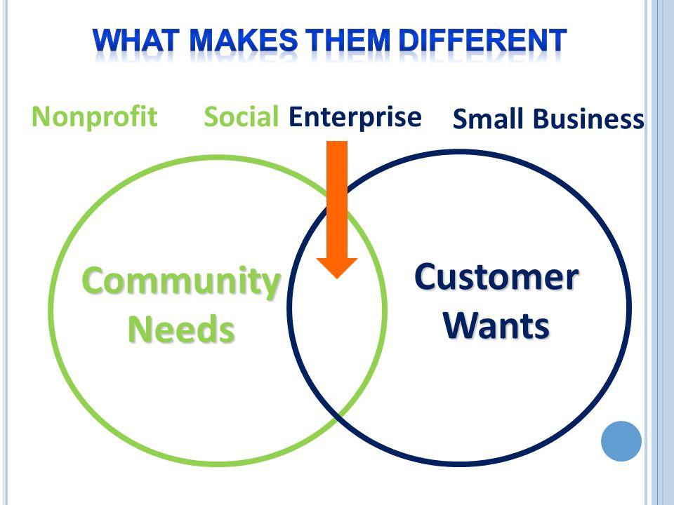 Social Enterprise Nonprofit Small Business Community Needs Customer Wants