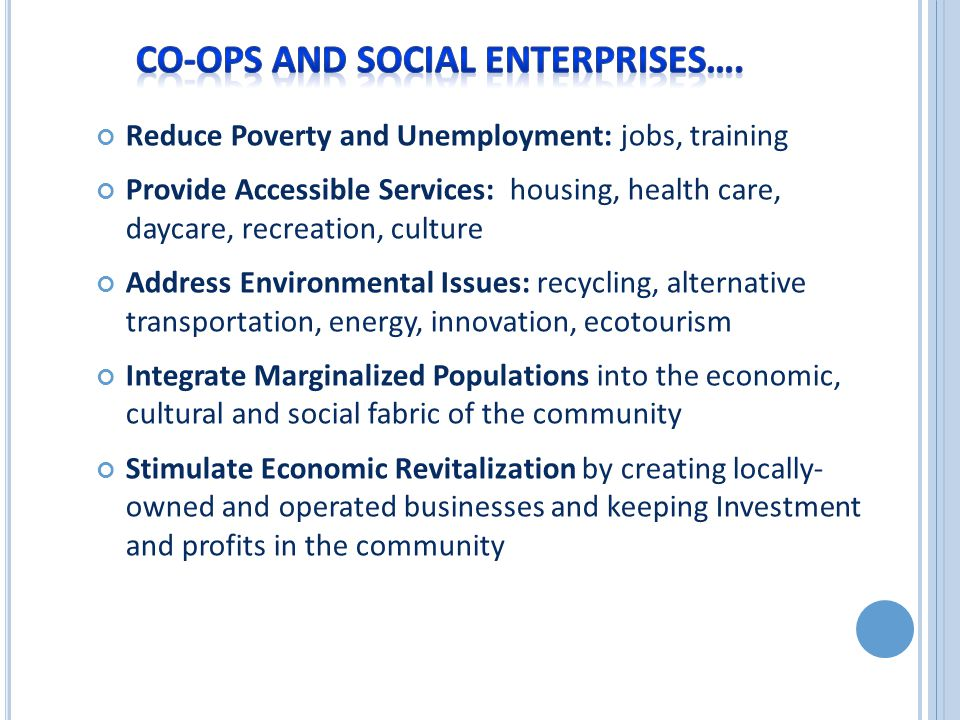 Reduce Poverty and Unemployment: jobs, training Provide Accessible Services: housing, health care, daycare, recreation, culture Address Environmental Issues: recycling, alternative transportation, energy, innovation, ecotourism Integrate Marginalized Populations into the economic, cultural and social fabric of the community Stimulate Economic Revitalization by creating locally- owned and operated businesses and keeping Investment and profits in the community