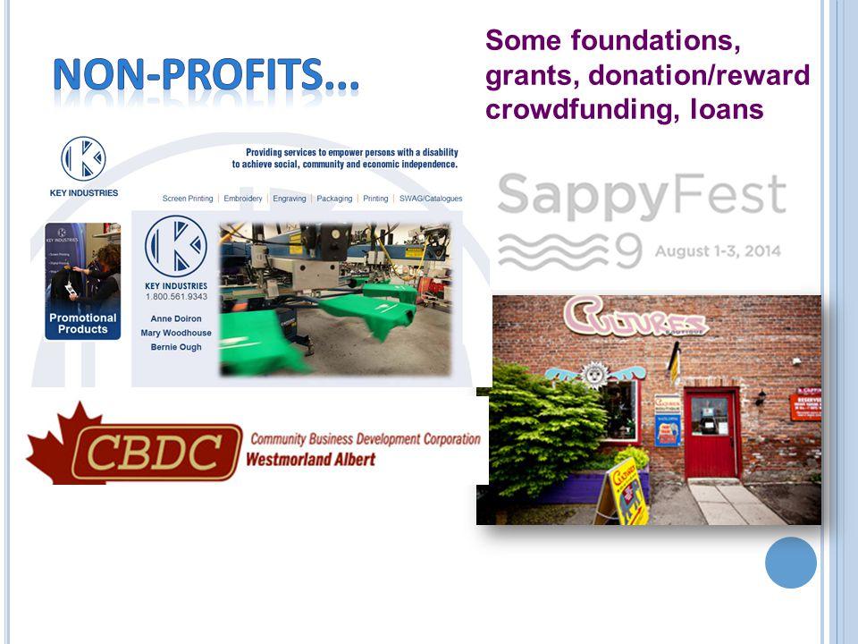 Some foundations, grants, donation/reward crowdfunding, loans