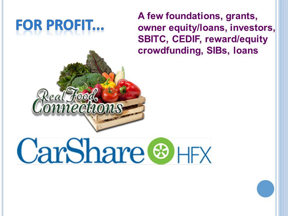 A few foundations, grants, owner equity/loans, investors, SBITC, CEDIF, reward/equity crowdfunding, SIBs, loans