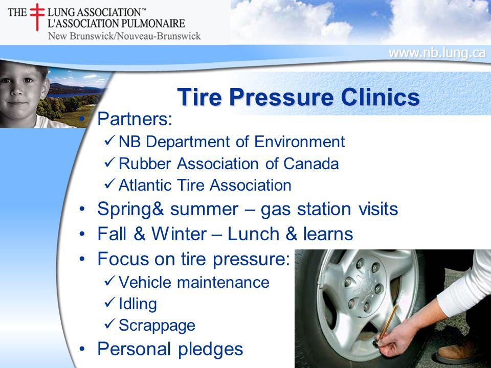 www.nb.lung.ca Tire Pressure Clinics Partners: NB Department of Environment Rubber Association of Canada Atlantic Tire Association Spring& summer – gas station visits Fall & Winter – Lunch & learns Focus on tire pressure: Vehicle maintenance Idling Scrappage Personal pledges