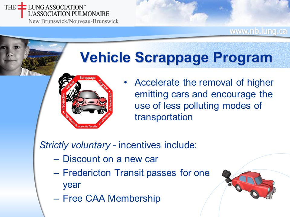 www.nb.lung.ca Vehicle Scrappage Program Accelerate the removal of higher emitting cars and encourage the use of less polluting modes of transportation Strictly voluntary - incentives include: –Discount on a new car –Fredericton Transit passes for one year –Free CAA Membership