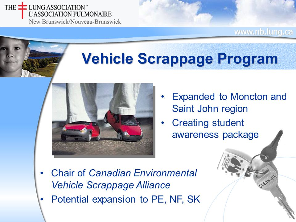 www.nb.lung.ca Vehicle Scrappage Program Expanded to Moncton and Saint John region Creating student awareness package Chair of Canadian Environmental Vehicle Scrappage Alliance Potential expansion to PE, NF, SK