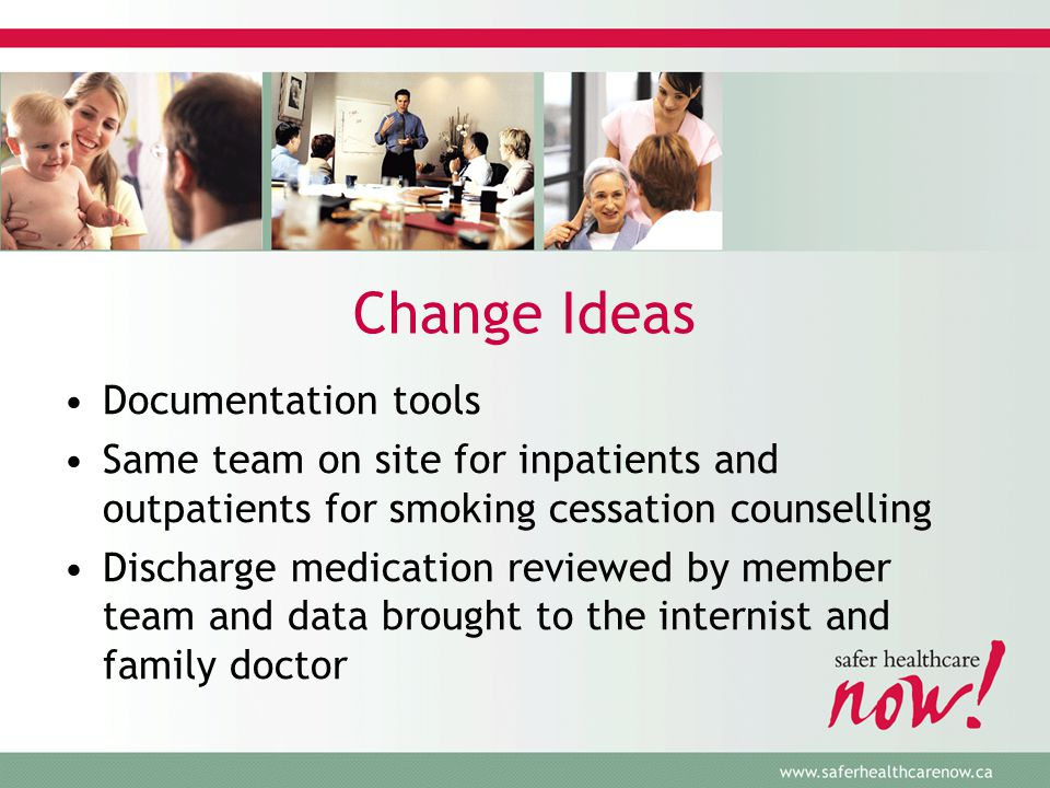 Change Ideas Documentation tools Same team on site for inpatients and outpatients for smoking cessation counselling Discharge medication reviewed by member team and data brought to the internist and family doctor