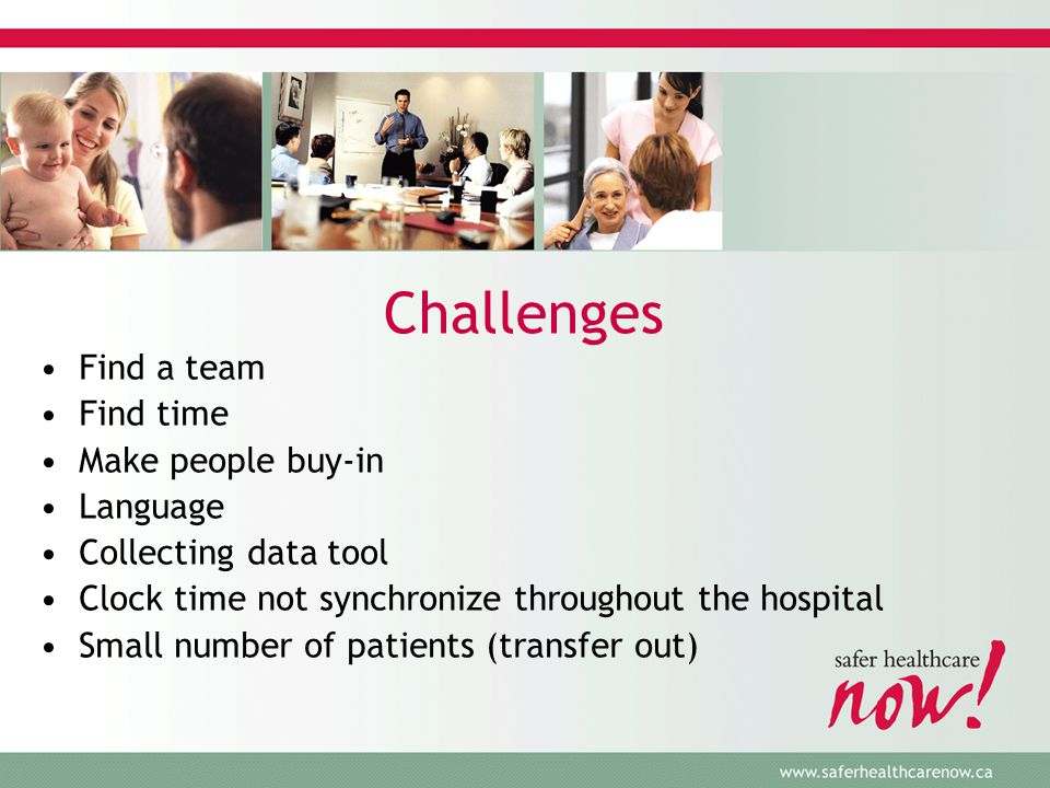 Challenges Find a team Find time Make people buy-in Language Collecting data tool Clock time not synchronize throughout the hospital Small number of patients (transfer out)
