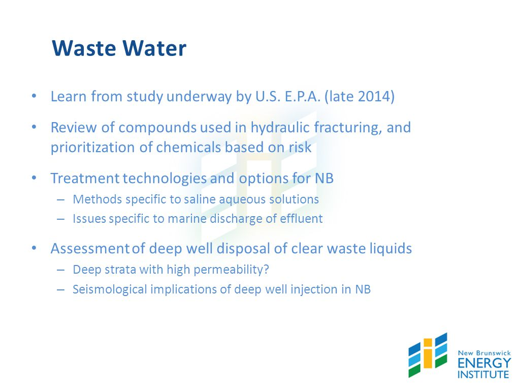 Waste Water Learn from study underway by U.S. E.P.A.