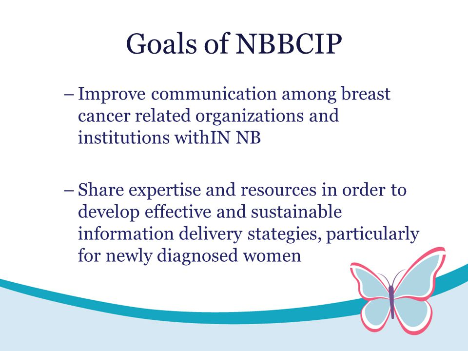 Goals of NBBCIP –Improve communication among breast cancer related organizations and institutions withIN NB –Share expertise and resources in order to develop effective and sustainable information delivery stategies, particularly for newly diagnosed women