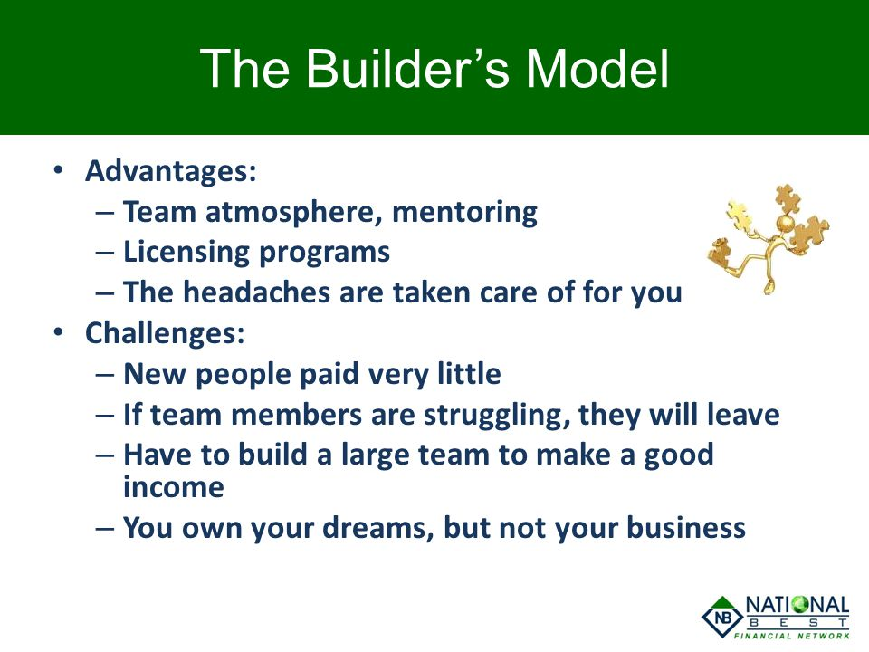 The Builder's Model Advantages: – Team atmosphere, mentoring – Licensing programs – The headaches are taken care of for you Challenges: – New people p