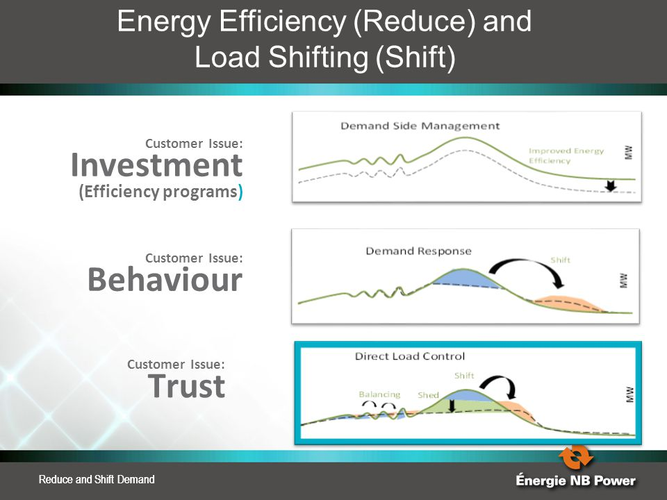 Reduce and Shift Demand Energy Efficiency (Reduce) and Load Shifting (Shift) Customer Issue: Investment (Efficiency programs) Customer Issue: Behaviou