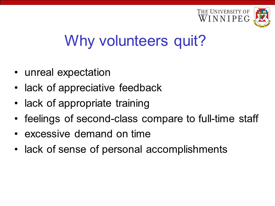 Why volunteers quit.