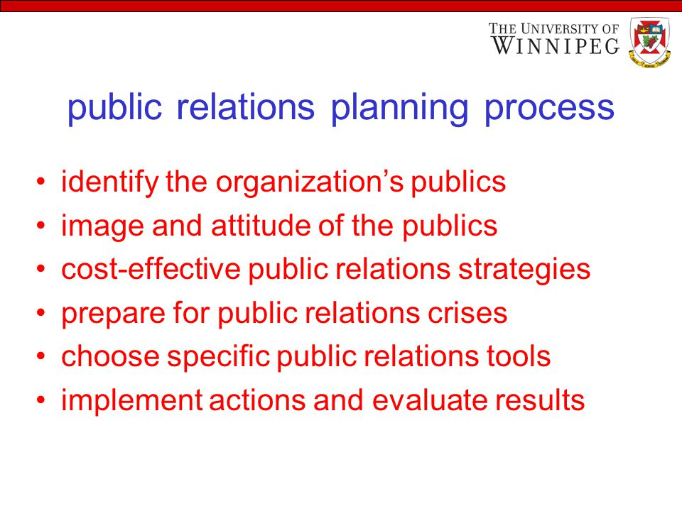 public relations planning process identify the organization's publics image and attitude of the publics cost-effective public relations strategies prepare for public relations crises choose specific public relations tools implement actions and evaluate results