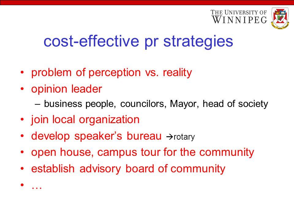 cost-effective pr strategies problem of perception vs.