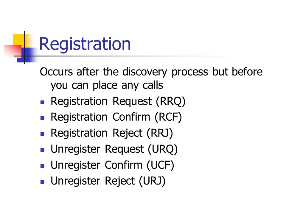 Registration Occurs after the discovery process but before you can place any calls Registration Request (RRQ) Registration Confirm (RCF) Registration Reject (RRJ) Unregister Request (URQ) Unregister Confirm (UCF) Unregister Reject (URJ)