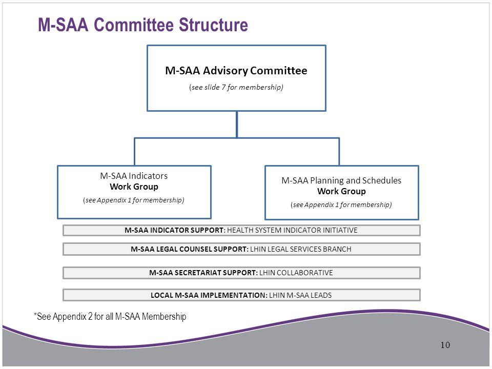 M-SAA Committee Structure M-SAA Advisory Committee (see slide 7 for membership) M-SAA Indicators Work Group (see Appendix 1 for membership) M-SAA Plan