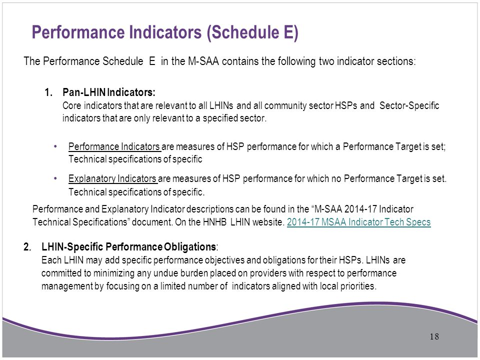Performance Indicators (Schedule E) The Performance Schedule E in the M-SAA contains the following two indicator sections: 1. Pan-LHIN Indicators: Cor