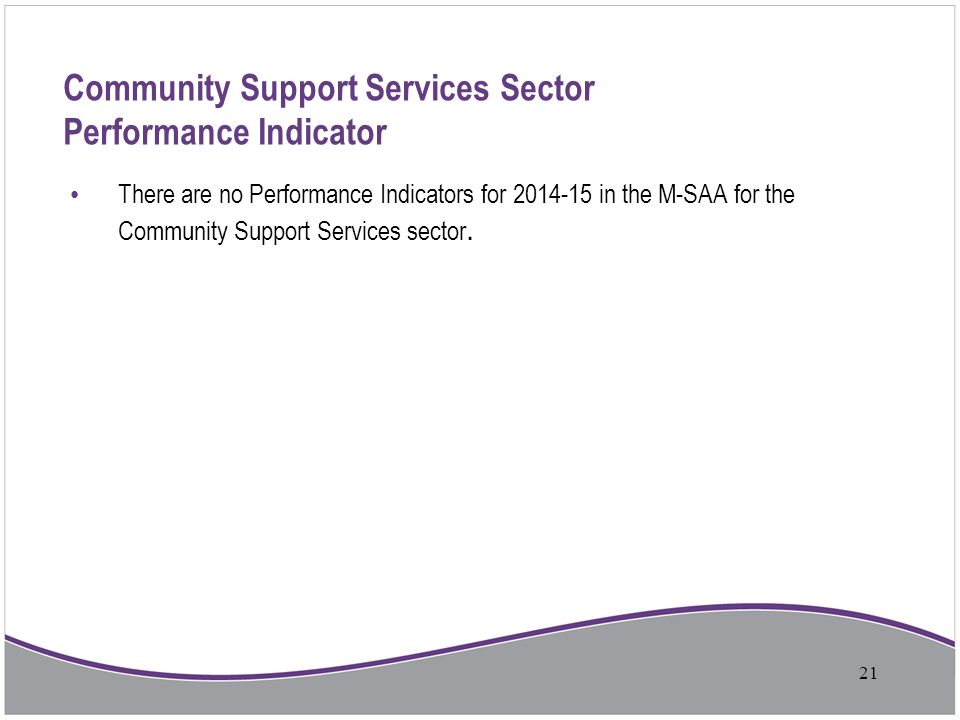 Community Support Services Sector Performance Indicator There are no Performance Indicators for 2014-15 in the M-SAA for the Community Support Service