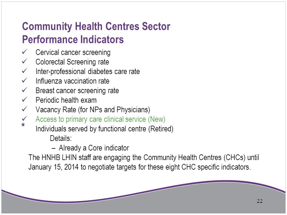 Community Health Centres Sector Performance Indicators Cervical cancer screening Colorectal Screening rate Inter-professional diabetes care rate Influ
