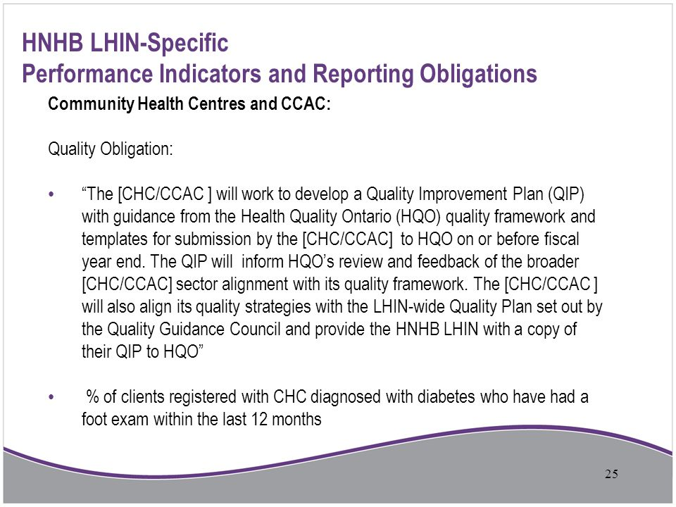 """HNHB LHIN-Specific Performance Indicators and Reporting Obligations Community Health Centres and CCAC: Quality Obligation: """"The [CHC/CCAC ] will work"""