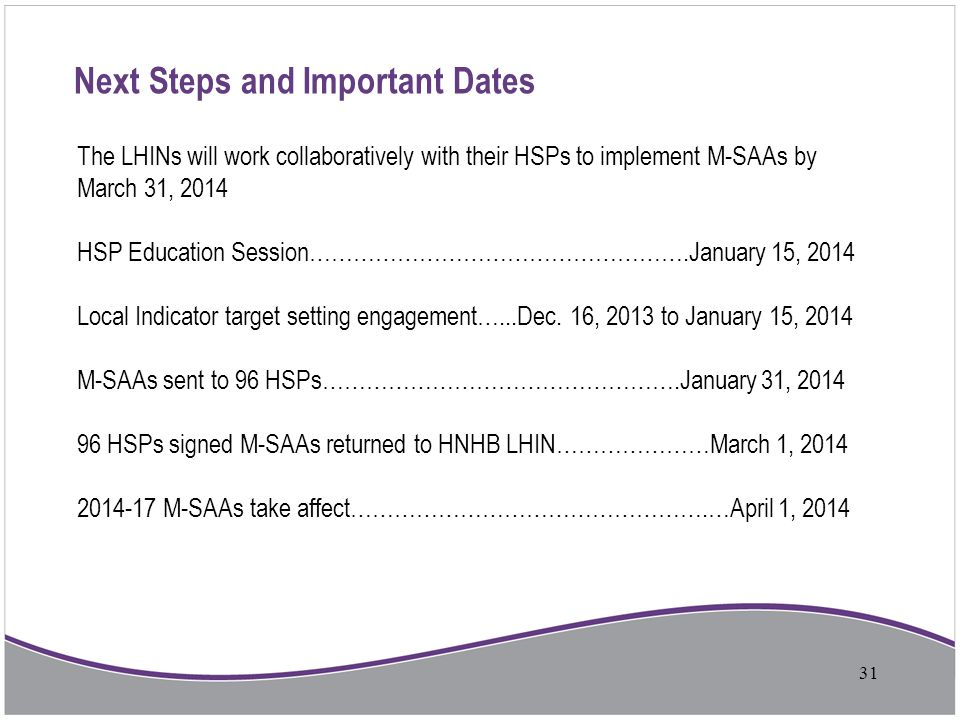 Next Steps and Important Dates The LHINs will work collaboratively with their HSPs to implement M-SAAs by March 31, 2014 HSP Education Session……………………