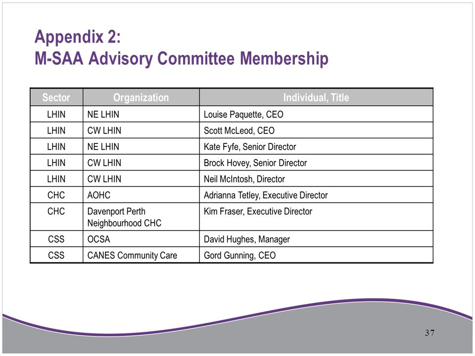Appendix 2: M-SAA Advisory Committee Membership 37