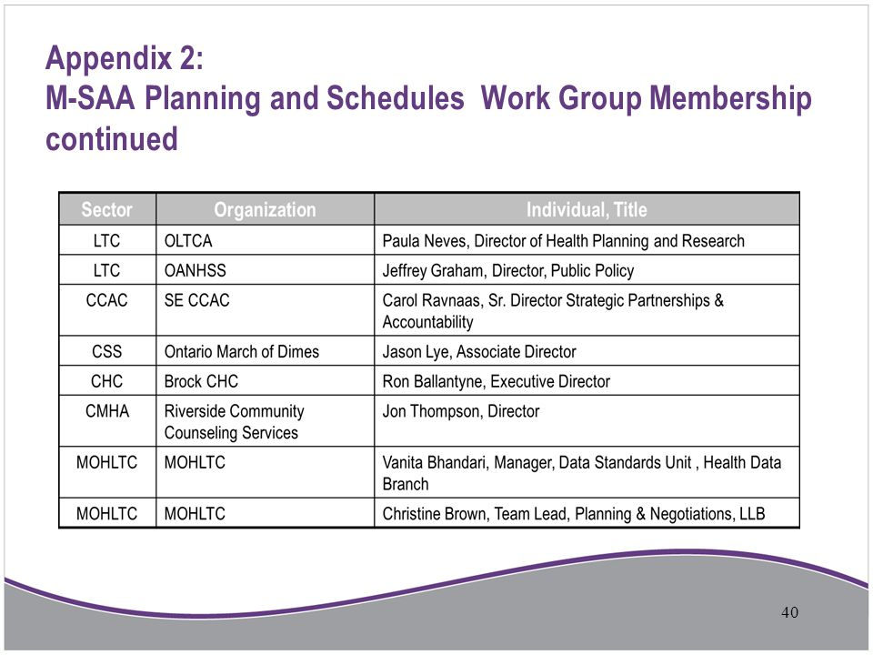 Appendix 2: M-SAA Planning and Schedules Work Group Membership continued 40