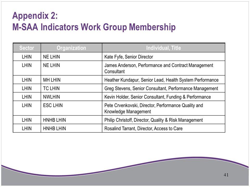 Appendix 2: M-SAA Indicators Work Group Membership 41