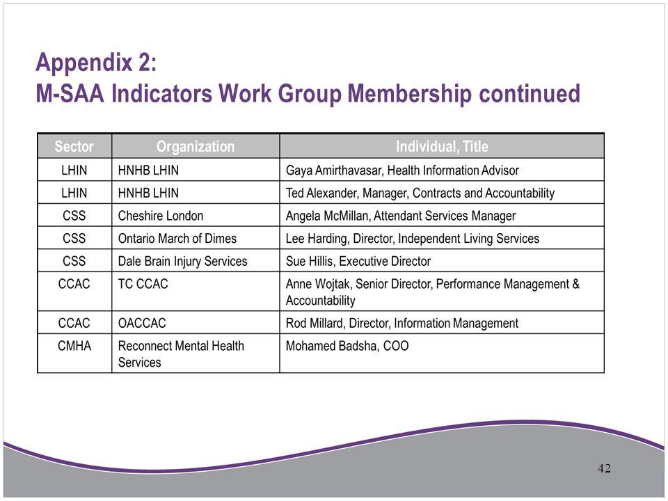 Appendix 2: M-SAA Indicators Work Group Membership continued 42