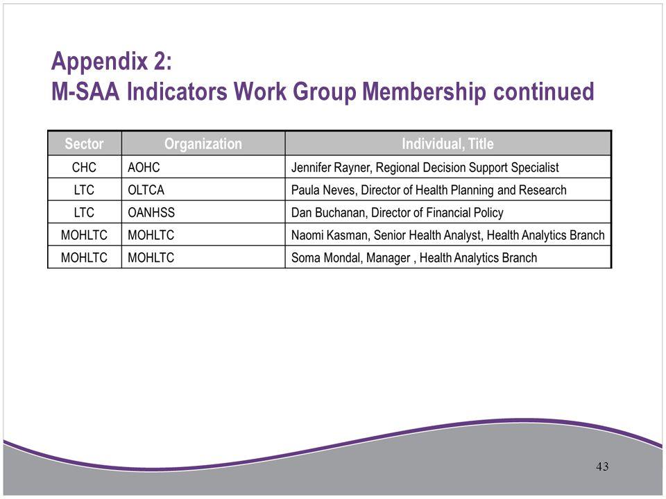 Appendix 2: M-SAA Indicators Work Group Membership continued 43