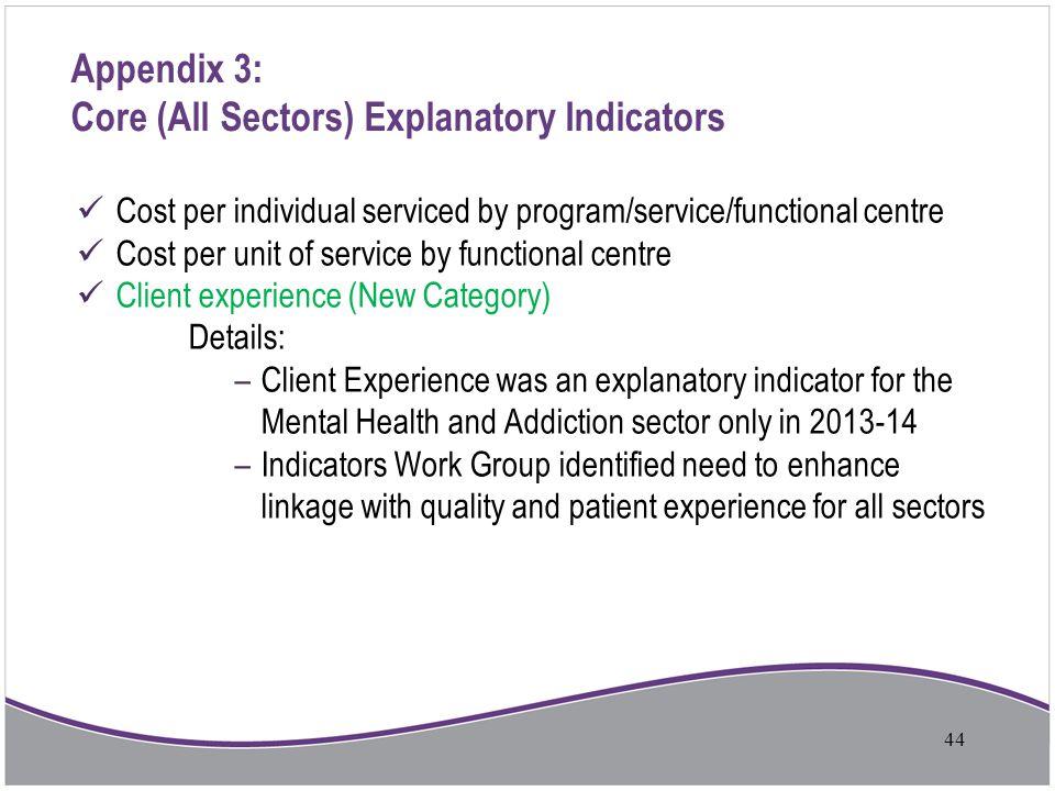 Appendix 3: Core (All Sectors) Explanatory Indicators Cost per individual serviced by program/service/functional centre Cost per unit of service by fu