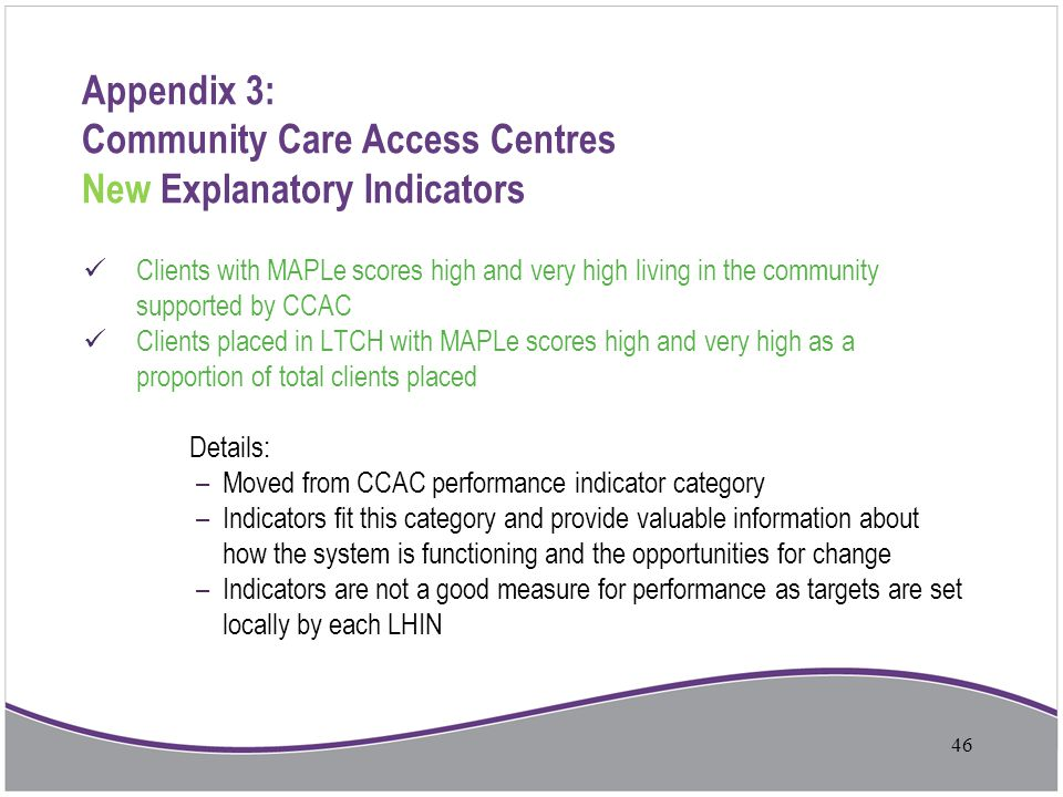 Appendix 3: Community Care Access Centres New Explanatory Indicators Clients with MAPLe scores high and very high living in the community supported by