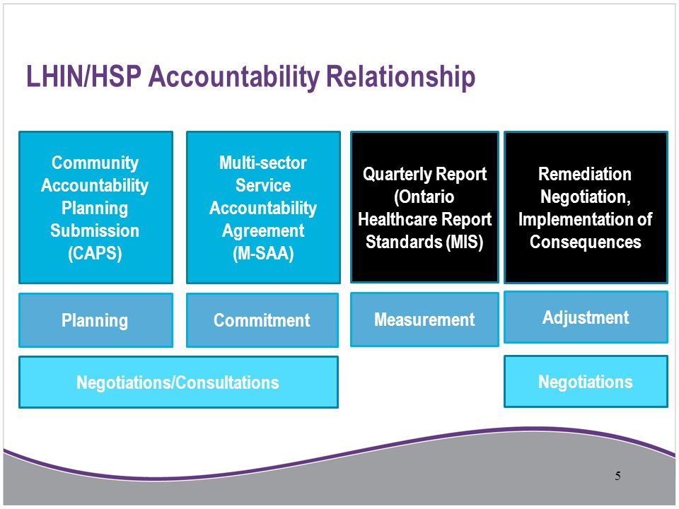 LHIN/HSP Accountability Relationship Community Accountability Planning Submission (CAPS) Multi-sector Service Accountability Agreement (M-SAA) Quarter
