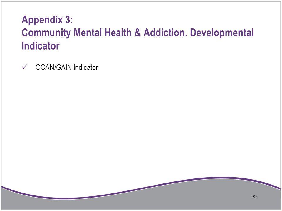 Appendix 3: Community Mental Health & Addiction. Developmental Indicator OCAN/GAIN Indicator 54