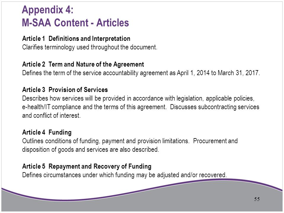 Appendix 4: M-SAA Content - Articles Article 1 Definitions and Interpretation Clarifies terminology used throughout the document. Article 2 Term and N