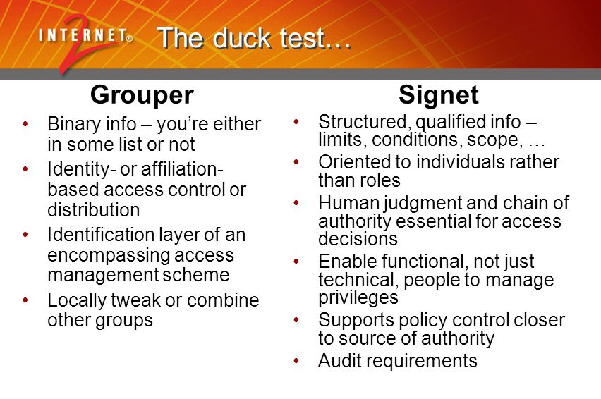 The duck test… Grouper Binary info – you're either in some list or not Identity- or affiliation- based access control or distribution Identification l