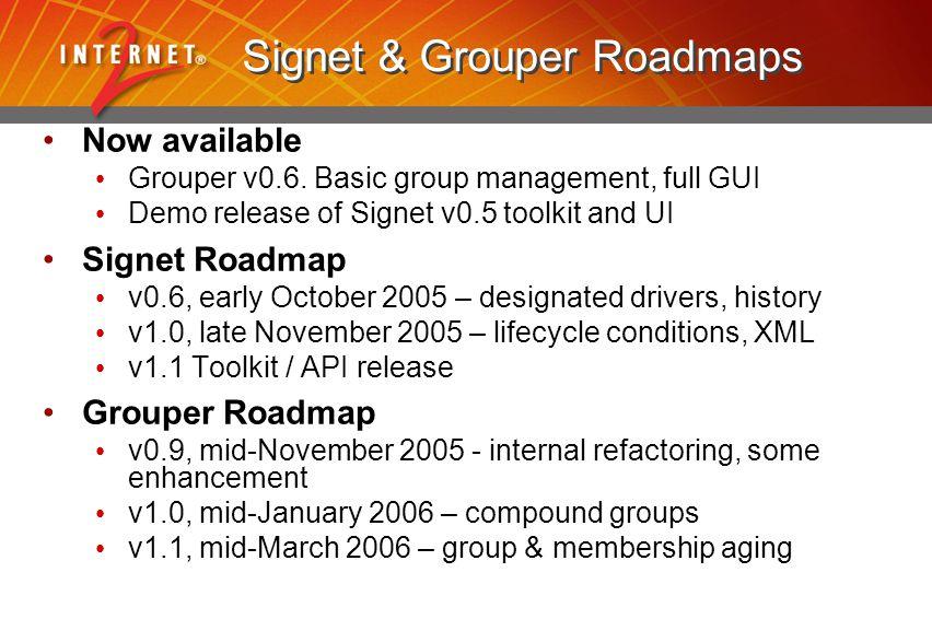 Signet & Grouper Roadmaps Now available Grouper v0.6.