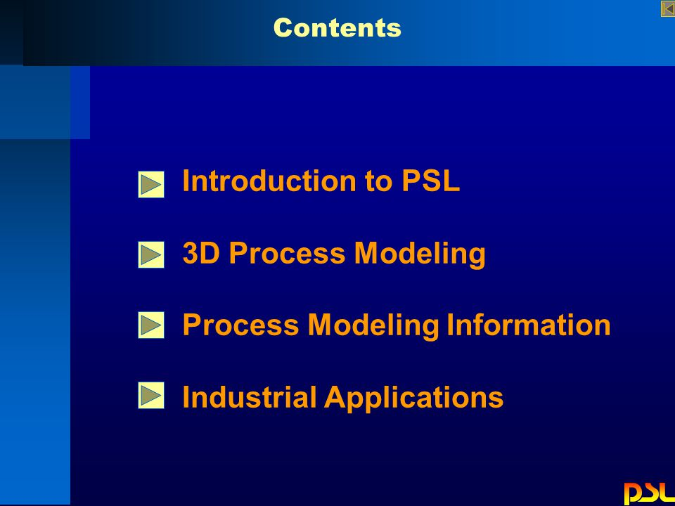 Contents Introduction to PSL 3D Process Modeling Process Modeling Information Industrial Applications