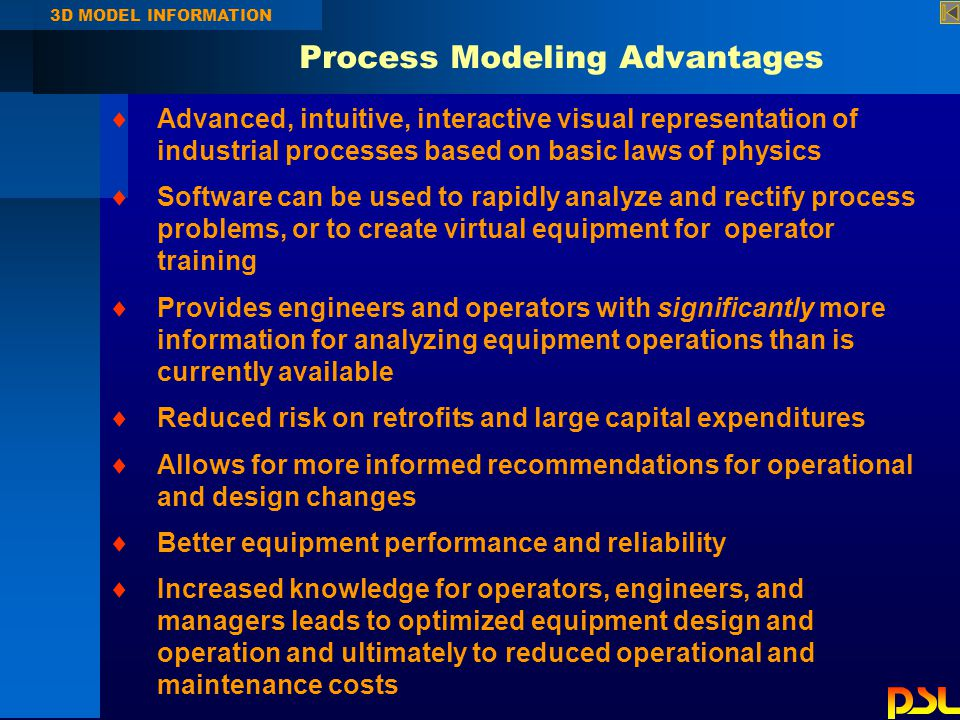 Process Modeling Advantages 3D MODEL INFORMATION  Advanced, intuitive, interactive visual representation of industrial processes based on basic laws of physics  Software can be used to rapidly analyze and rectify process problems, or to create virtual equipment for operator training  Provides engineers and operators with significantly more information for analyzing equipment operations than is currently available  Reduced risk on retrofits and large capital expenditures  Allows for more informed recommendations for operational and design changes  Better equipment performance and reliability  Increased knowledge for operators, engineers, and managers leads to optimized equipment design and operation and ultimately to reduced operational and maintenance costs
