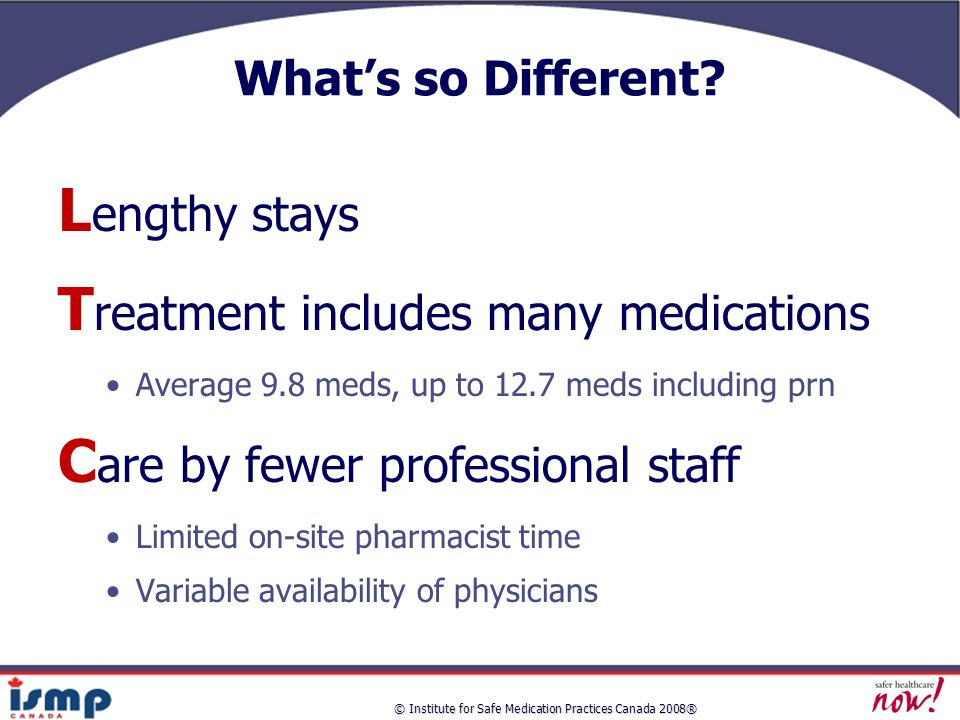 © Institute for Safe Medication Practices Canada 2008® What's so Different.
