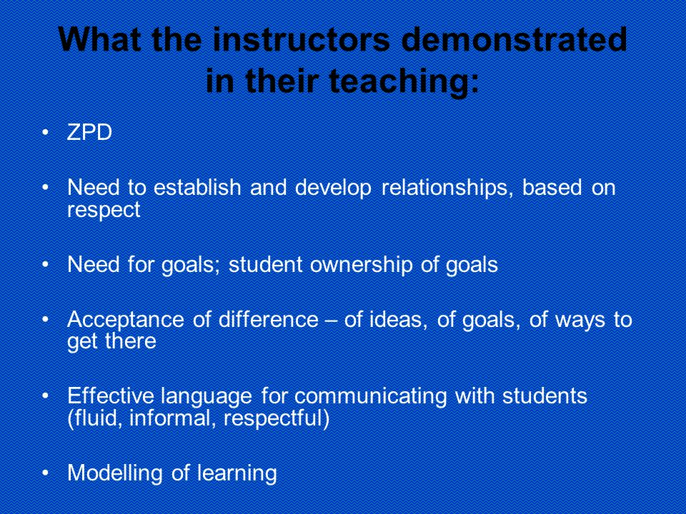 What the instructors demonstrated in their teaching: ZPD Need to establish and develop relationships, based on respect Need for goals; student ownership of goals Acceptance of difference – of ideas, of goals, of ways to get there Effective language for communicating with students (fluid, informal, respectful) Modelling of learning