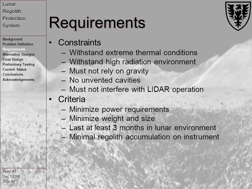 Requirements Constraints –Withstand extreme thermal conditions –Withstand high radiation environment –Must not rely on gravity –No unvented cavities –Must not interfere with LIDAR operation Criteria –Minimize power requirements –Minimize weight and size –Last at least 3 months in lunar environment –Minimal regolith accumulation on instrument Team #3 Dec Slide #4 Background Problem Definition Requirements Alternative Designs Final Design Preliminary Testing Current Status Conclusions Acknowledgements