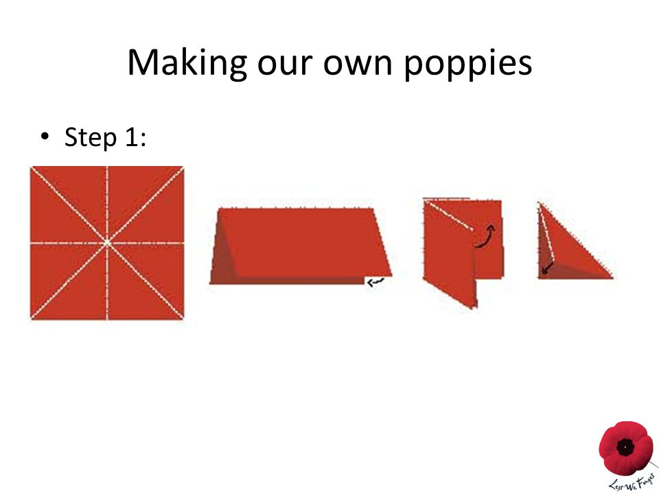 Making our own poppies Step 1:
