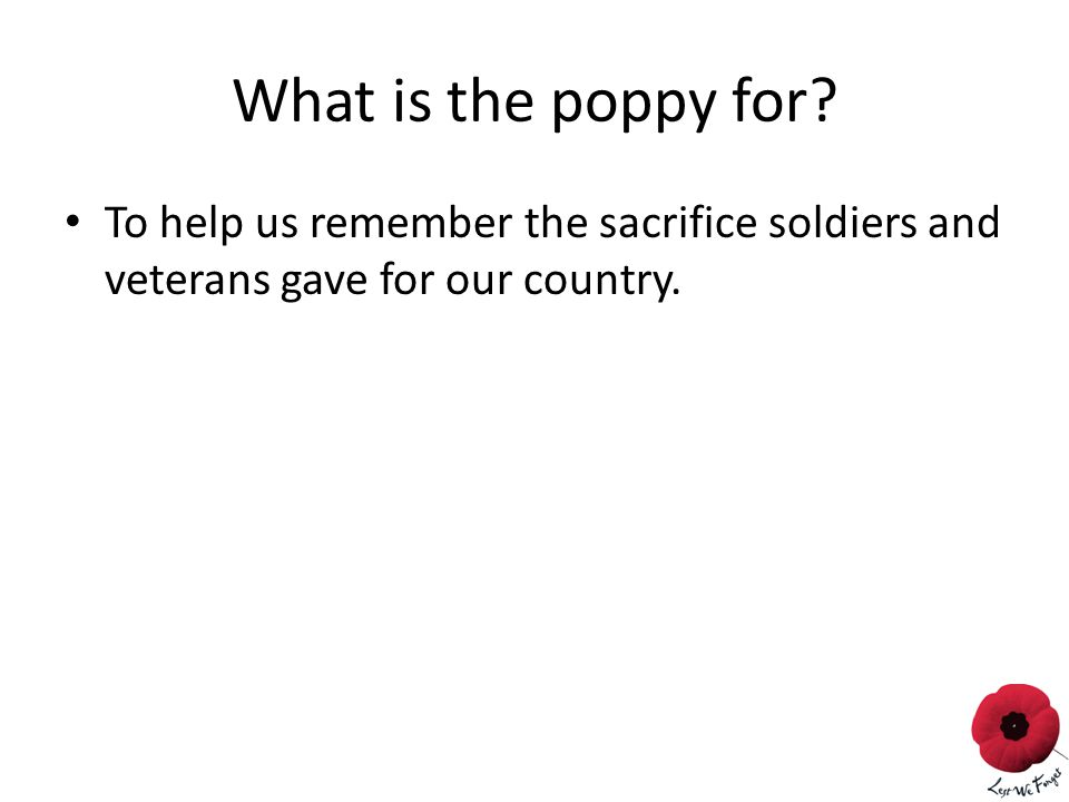 What is the poppy for.