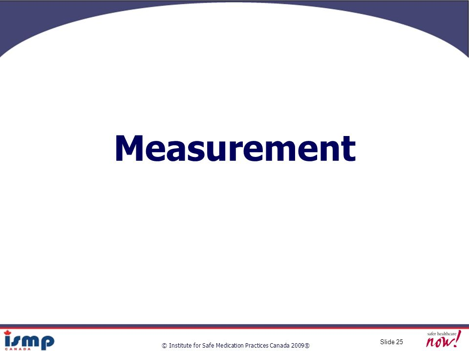 © Institute for Safe Medication Practices Canada 2009® Slide 25 Measurement