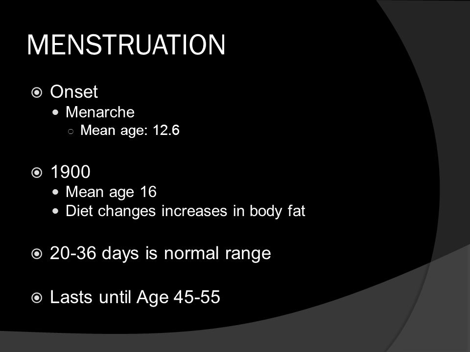 MENSTRUATION  Onset Menarche ○ Mean age: 12.6  1900 Mean age 16 Diet changes increases in body fat  20-36 days is normal range  Lasts until Age 45-55