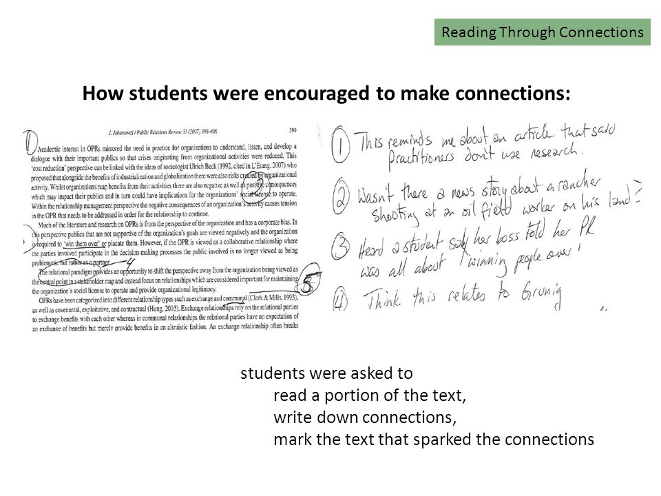 Reading Connections How students were encouraged to make connections: Reading Through Connections students were asked to read a portion of the text, write down connections, mark the text that sparked the connections
