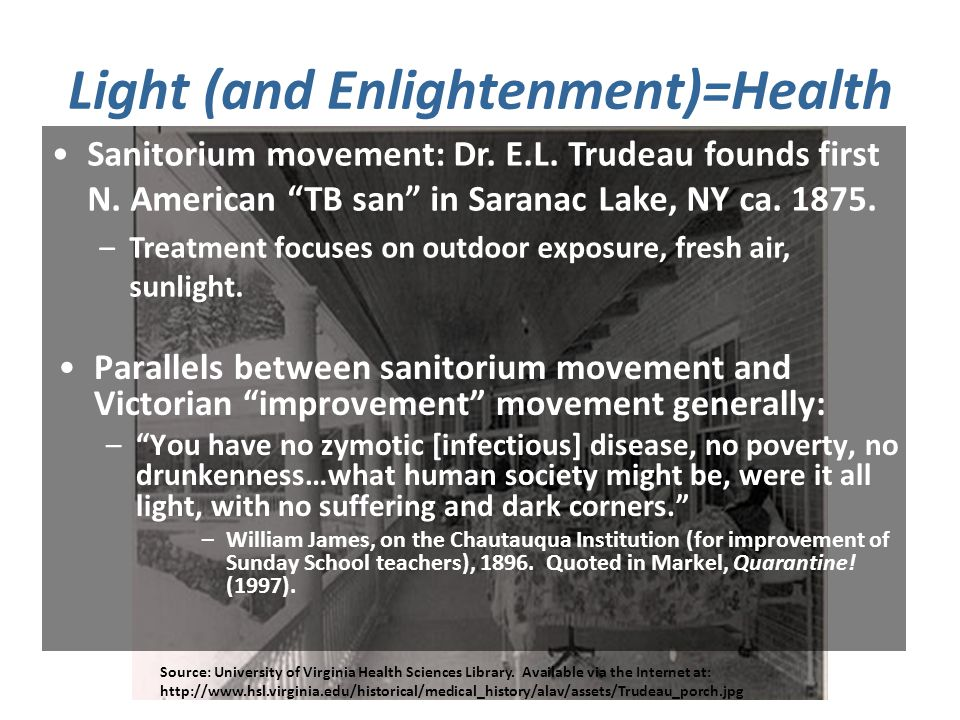 Light (and Enlightenment)=Health Source: University of Virginia Health Sciences Library.
